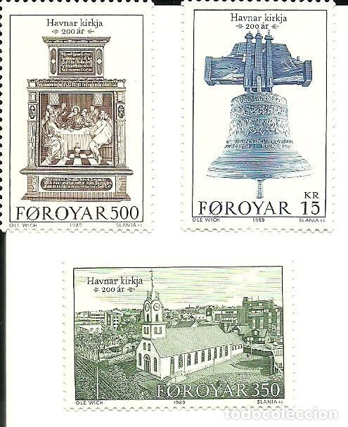 FEROE ISLAS , BICENTENARIO IGLESIA TORSHAUM DE 1989 IVERT 173/75 . , NUEVOS (Sellos - Extranjero - Europa - Islas Feroe)