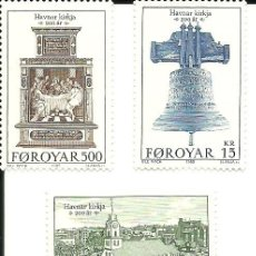 Sellos: FEROE ISLAS , BICENTENARIO IGLESIA TORSHAUM DE 1989 IVERT 173/75 . , NUEVOS. Lote 210451793
