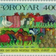 Sellos: ISLAS FEROE 1994 SCOTT 275 SELLO ** NAVIDAD CHRISTMAS FIN DEL VERANO ANIMALES MICHEL 270 YVERT 266. Lote 226983645