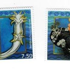 Sellos: ISLAS FEROE - MOLUSCOS / FAUNA MARINA - AÑO 2002 - 4 SELLOS NUEVOS CON RELIEVE. Lote 236766485