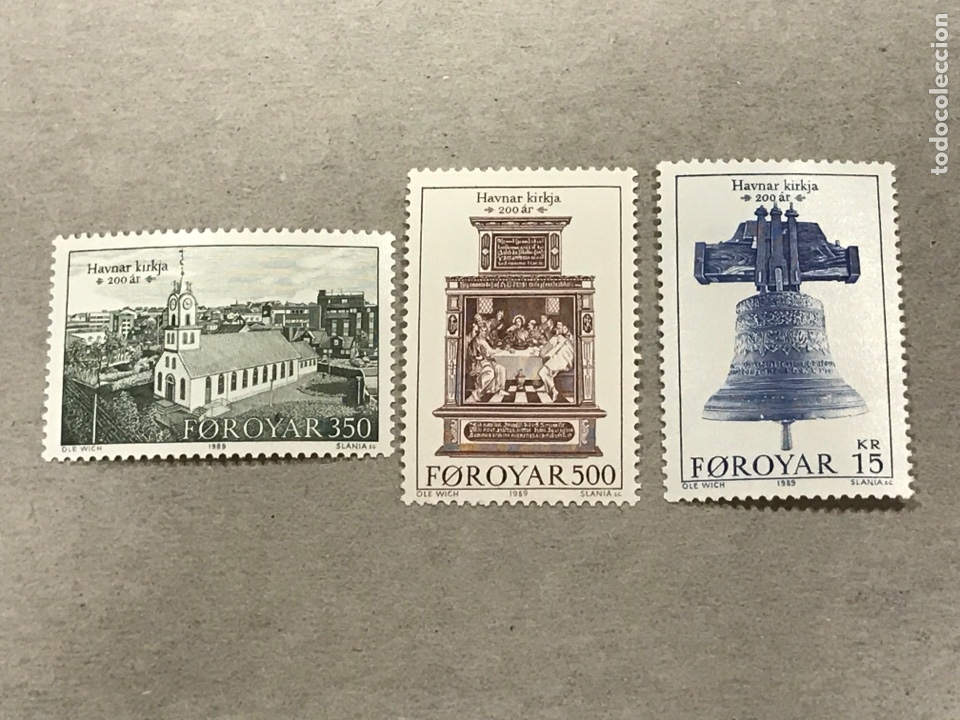 ISLAS FEROE YVERT 173 175 AÑO 1989 II CENTENARIO IGLESIA TORSHAVN, NUEVOS SIN FIJASELLOS (Sellos - Extranjero - Europa - Islas Feroe)