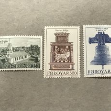 Sellos: ISLAS FEROE YVERT 173 175 AÑO 1989 II CENTENARIO IGLESIA TORSHAVN, NUEVOS SIN FIJASELLOS. Lote 244936895
