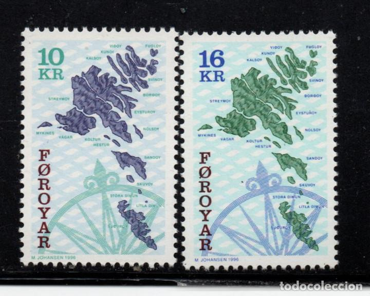 FEROE 296/97** - AÑO 1996 - MAPA DE LAS ISLAS (Sellos - Extranjero - Europa - Islas Feroe)