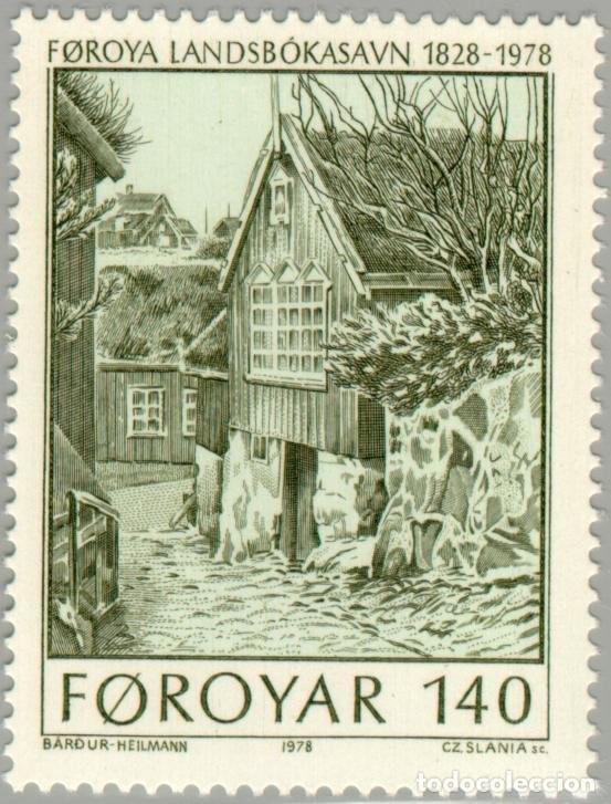 ISLAS FEROE 1978 SCOTT 39 SELLO ** BIBLIOTECA NACIONAL OLD LIBRARY MICHEL 39 YVERT 33 FOROIAR FAROE (Sellos - Extranjero - Europa - Islas Feroe)