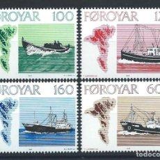 "Sellos: FÉROÉ N°18/21** (MNH) 1977 - NAVIGATION ""BATEAUX"". Lote 265701379"