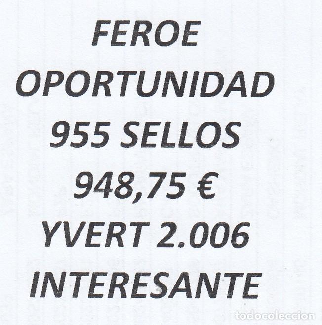 INTERESANTE LOTE FEROE, COMPUESTO POR 955 SELLOS, CON 948,75 € CATALOGO YVERT 2.006 + (Sellos - Extranjero - Europa - Islas Feroe)