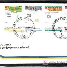 Sellos: ISRAEL 727/30 PRIMER DIA CON BANDELETA, REALIZACIONES TECNICAS EN ISRAEL, . Lote 7715103