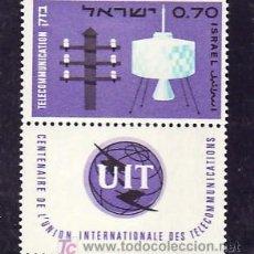 Sellos: ISRAEL 291 MEDIA BANDELETA, CON CHARNELA, CENTENARIO UNION INTERNACIONAL TELECOMUNICACIONES, . Lote 7822643