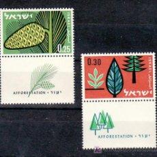 Sellos: ISRAEL 209/10 MEDIA BANDELETA, CON CHARNELA, REPOBLACION FORESTAL, . Lote 7832459