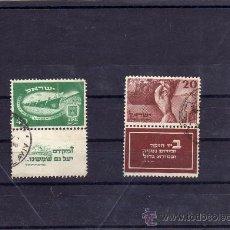 Sellos: BONITA SERIE DE ISRAEL USADA CON BANDELETA,AÑO 1950.Nº29/30,YVERT. Lote 23577160