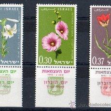 Sellos: ISRAEL AÑO 1963 YV 234/36*** XV ANVº DE ISRAEL - FLORES - FLORA - NATURALEZA. Lote 27482322