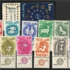 Sellos: ISRAEL SIGNOS DEL ZODIACO. SERIE COMPLETA CON ''TABS''. Lote 57989646
