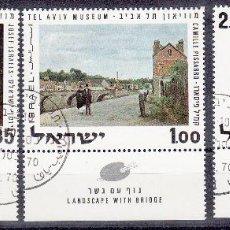 ISRAEL. YVERT 426/8 USADOS CON BANDELETA COMPLETA. PINTURA.