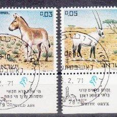 Selos: ISRAEL. YVERT 432/35 USADOS CON BANDELETA COMPLETA. FAUNA.. Lote 62983676