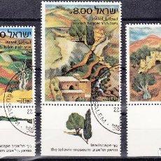 Sellos: ISRAEL. YVERT 822/4 USADO CON BANDELETA COMPLETA. PINTURA.. Lote 77351685