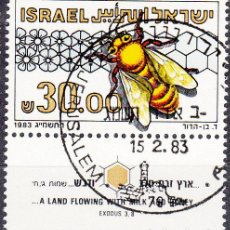 Sellos: ISRAEL. YVERT 863 USADO CON BANDELETA COMPLETA. INSECTOS.. Lote 77352297