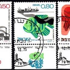 Sellos: ISRAEL. YVERT 591/3 USADO CON BANDELETA. FLORA, FAUNA, BARCOS, AVIONES.. Lote 84526432