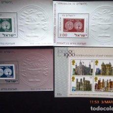 Sellos: ISRAEL SERIE Y HOJA G.B.LONDON 80, (4). Lote 115015599