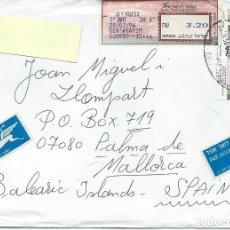 Sellos: 1996.ISRAEL. SOBRE CIRCULADO DE GIVATAYIM A PALMA DE MALLORCA. ETIQUETA Y SELLO DE FRANQUEO.. Lote 119179887
