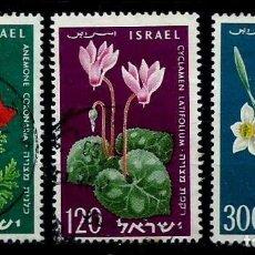 Sellos: ISRAEL MICHEL: 0179/181-(1959) (ANIVERSARIO DEL ESTADO HEBREO - FLORES) USADO. Lote 170118572