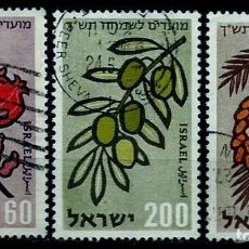 Sellos: ISRAEL MICHEL: 0184/186-(1959) (AÑO NUEVO HEBREO - FRUTOS) USADO. Lote 194600880
