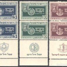 Sellos: ISRAEL, 1949 YVERT Nº 18 / 20 /**/, BANDELETA + TAB, SIN FIJASELLOS. Lote 183995728