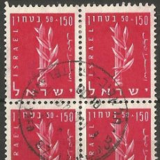 Sellos: ISRAEL - BLOQUE DE 4 SELLOS - 01 - USADOS. Lote 194285452
