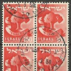 Sellos: ISRAEL - BLOQUE DE 4 SELLOS DE 1958 - 01 - USADOS. Lote 194285597