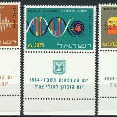 Sellos: ISRAEL 1964 IVERT 251/3 *** 16º ANIVERSARIO DEL ESTADO - CONTRIBUCIÓN A LA CIENCIA. Lote 200203342