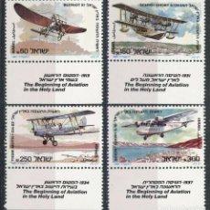 Sellos: ISRAEL 1985 IVERT 933/6 *** INICIOS DE LA AVIACIÓN EN TIERRA SANTA - AVIONES ANTIGUOS. Lote 207699191