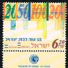 Sellos: ISRAEL Nº 1799, 50 ANIVERSARIO DEL BANCO DE ISRAEL, NUEVO *** CON TAB. Lote 227240030