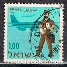 Sellos: ISRAEL Nº 380, DÍA DEL SELLO, CARTERO ISRAELÍ Y AVIÓN, USADO. Lote 228172140