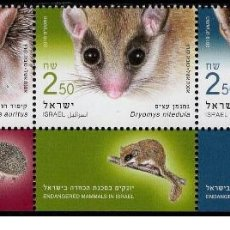 Sellos: ISRAEL 2019 - MAMMALS WITH LABEL STAMP SET MNH. Lote 251922410