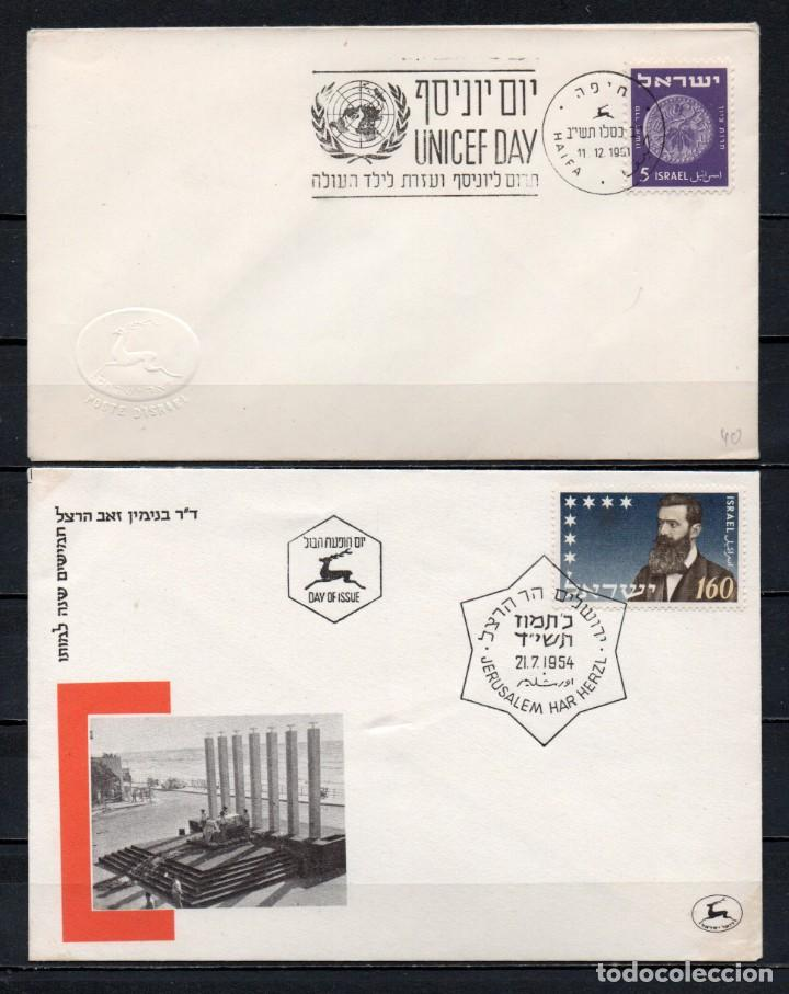 LOTE DE 2 FDC, SOBRES DE PRIMER DÍA DE EMISIÓN DE ISRAEL -AÑOS 1951, 1954- (Sellos - Extranjero - Asia - Israel)