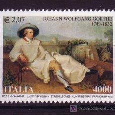 Sellos: ITALIA 2378*** -AÑO 1999 - 250º ANIVERSARIO DEL NACIMIENTO DEL ESCRITOR JOHANN WOLFGAND VON GOETHE. Lote 23881716