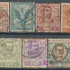 Sellos: ITALIA IVERT Nº 64/7, AGUILA DE LA CASA DE SABOYA Y VICTOR MANUEL III, AÑO 1901, USADO. Lote 26834687