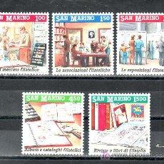 Sellos: SAN MARINO 1259/63 SIN CHARNELA, PROMOCION DE LA FILATELIA, . Lote 20004300