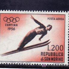 Sellos: SAN MARINO A 105 CON CHARNELA, DEPORTE, JUEGOS OLIMPICOS DE CORTINA DE AMPEZZO, . Lote 17633855