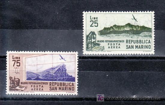 SAN MARINO A 98/9 CON CHARNELA, ESTUDIO FOTOGRAMÉTRICO DE SAN MARINO (Sellos - Extranjero - Europa - Italia)