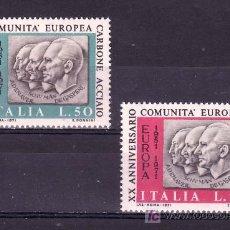 Sellos: ITALIA 1070/1 SIN CHARNELA, 20º ANIVERSARIO COMUNIDAD EUROPEA DEL CARBON Y DEL ACERO . Lote 18413881