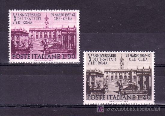 ITALIA 961/2 SIN CHARNELA, 10º ANIVERSARIO DEL TRATADO DE ROMA PARA LA COMUNIDAD EUROPEA (Sellos - Extranjero - Europa - Italia)