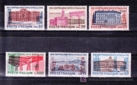 ITALIA 852/7 SIN CHARNELA, CENTENARIO DE LA UNIDAD ITALIANA (Sellos - Extranjero - Europa - Italia)