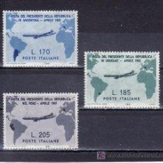 Sellos: ITALIA 845/7 SIN CHARNELA, VISITA DEL PRESIDENTE GRONCHI A ARGENTINA, URUGUAY Y PERU . Lote 18473954