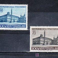 Sellos: ITALIA 670/1 CON CHARNELA, 25º ANIVERSARIO DE LOS ACUERDOS DE LETRAN, PALACIO DE LETRAN EN ROMA. Lote 18542772