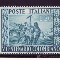 Sellos: ITALIA 597 CON CHARNELA, V CENTENARIO NACIMIENTO DE CRISTOBAL COLON . Lote 145615533