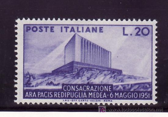 ITALIA 594 CON CHARNELA, CONSAGRACION DEL ARA PACIS (Sellos - Extranjero - Europa - Italia)