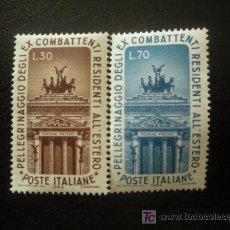 Sellos: ITALIA 1964 IVERT 912/3 *** PEREGRINAJE ANTIGUOS COMBATIENTES ITALIANOS A ROMA - MONUMENTO. Lote 20939909