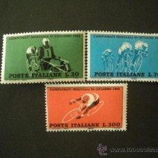 Sellos: ITALIA 1962 IVERT 868/70 *** CAMPEONATO DEL MUNDO DE CICLISMO - DEPORTES. Lote 24622756