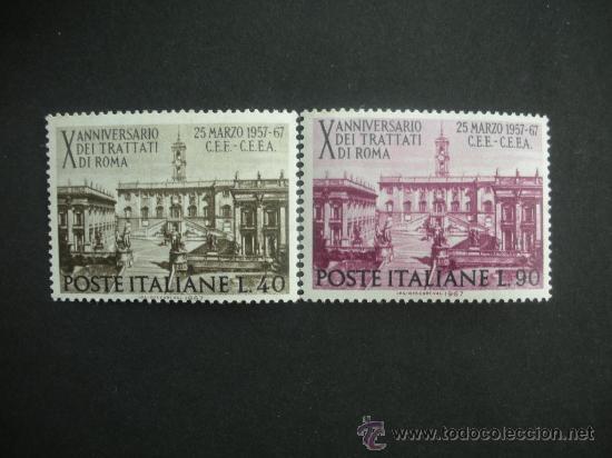 ITALIA 1967 IVERT 961/2 *** 10º ANIVERSARIO TRATADO DE ROMA PARA LA COMUNIDAD EUROPEA - MONUMENTOS (Sellos - Extranjero - Europa - Italia)