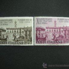 Sellos: ITALIA 1967 IVERT 961/2 *** 10º ANIVERSARIO TRATADO DE ROMA PARA LA COMUNIDAD EUROPEA - MONUMENTOS. Lote 25856879